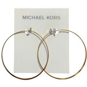 NWT MICHAEL KORS Gold Whisper Large Hoop Earrings